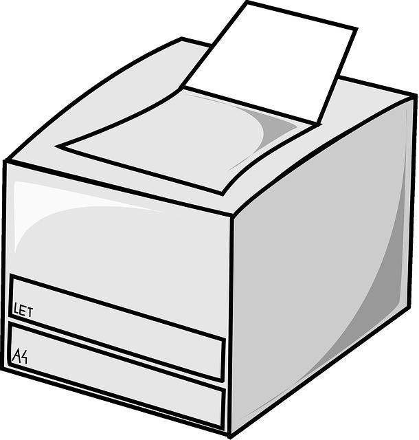 zjednodušený nákres tiskárny